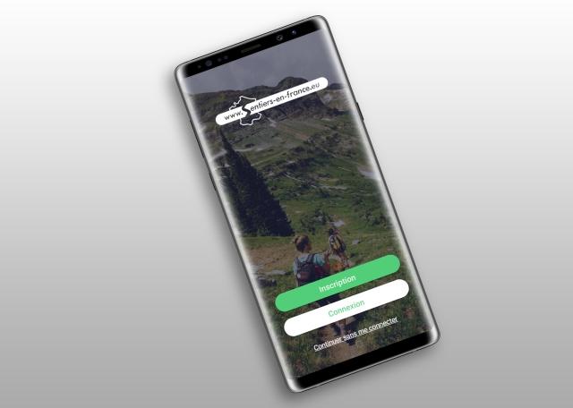 Splash screen de l'application Android et iOS Sentiers en France