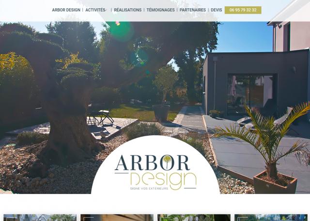 Page d'accueil site Arbor Design