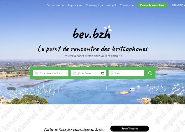 Page d'accueil du site BEV