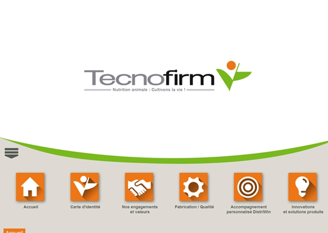 Page d'accueil de l'application mobile Tecnofirm